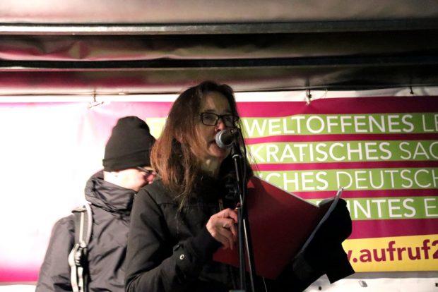 Erinnerte an die wirklichen Anfänge 1989 mit 500 Menschen - Bürgerrechtlerin Gesine Oltmanns. Foto: L-IZ.de