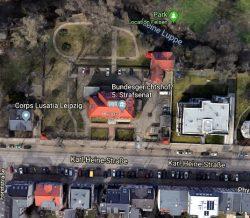 Direkte Nachbarn an der Karl-Heine: Das BGH-Gebäude und das Corpshaus. Quelle: Google Map