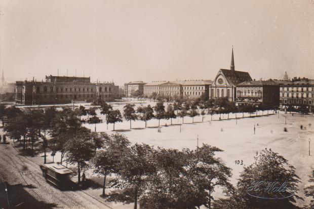 Hermann Walter, Augustusplatz mit Bildermuseum und Universitätskirche, Leipzig, 1888. Quelle: Andreas J. Mueller