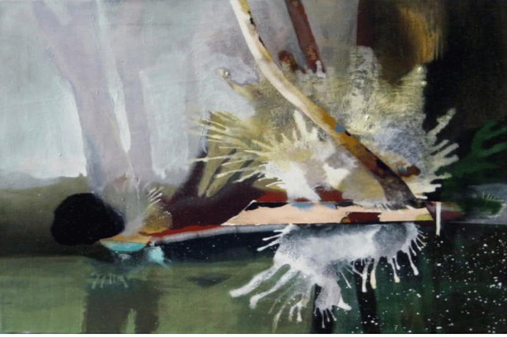 Stefan Schwarzmüller, Spreewald (rot-grün-splash), 2016, Mischtechnik auf Leinwand, 51 x 58 cm. Quelle: ARTAe Galerie Leipzig