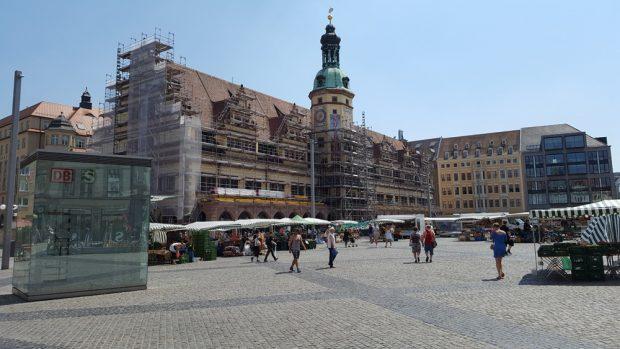 Fassadenputz am Alten Rathaus im Mai 2018. Foto: Marko Hofmann