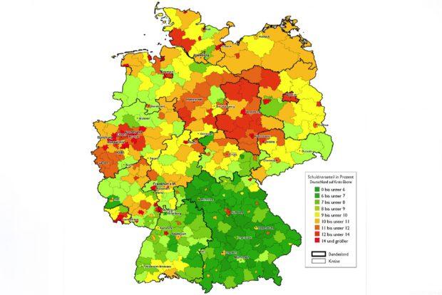 Deutschlandkarte mit Überschuldungsquoten auf Kreisebene 2018. Karte: Creditreforn