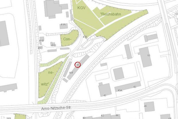 Das Gleisdreieck in Marienbrunn. Karte: Stadt Leipzig
