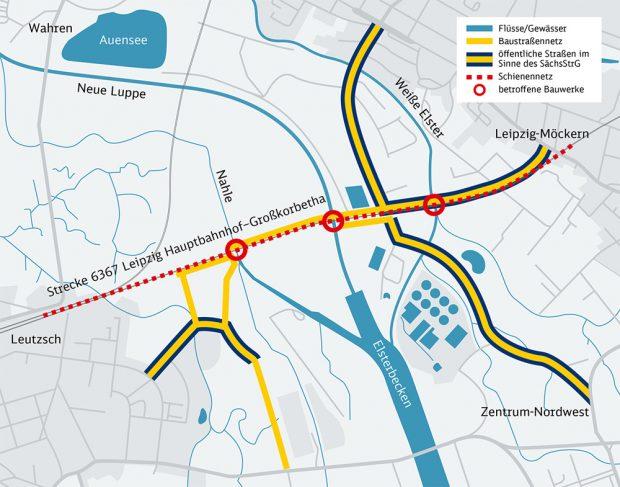 Die geplanten neuen Brückenbauwerke über Weiße Elster, Neue Luppe und Nahle in der Elsteraue. Karte: Deutsche Bahn