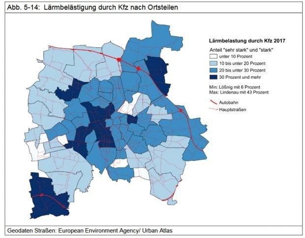 Die Kfz-Lärm-Belastung nach Ortsteilen. Grafik: Stadt Leipzig, Bürgerumfrage 2017
