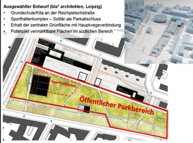 Lageplanentwurf des Leipziger Architekturbüros bla°. Karte: Stadt Leipzig