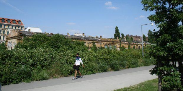 Die fast zugewachsenen Gebäude des Eilenburger Bahnhifs und die Hauptachse des Lene-Voigt-Parks. Foto: Ralf Julke