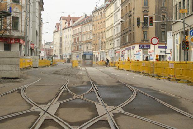 Umbauzeit 2012 in der Lützner Straße. Foto: Ralf Julke