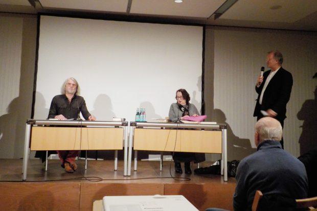 Thomas Irmer, Katja Lange-Müller und Thorsten Ahrend. Foto: Franziska Wohlgemut