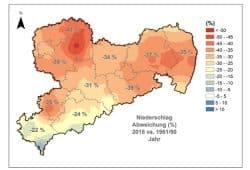 Fehlende Niederschläge in den sächsischen Regionen 2018. Grafik: Freistaat Sachsen, LfULG