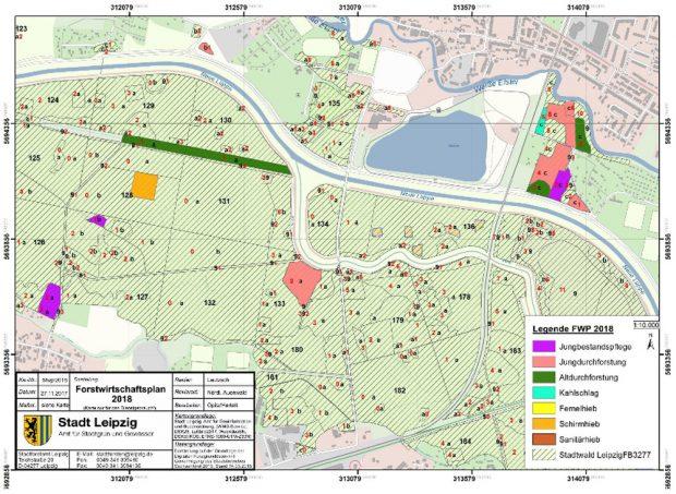Die geplanten Schirmhiebe in der Burgaue. Karte: Stadt Leipzig, Forstwirtschaftsplan 2018