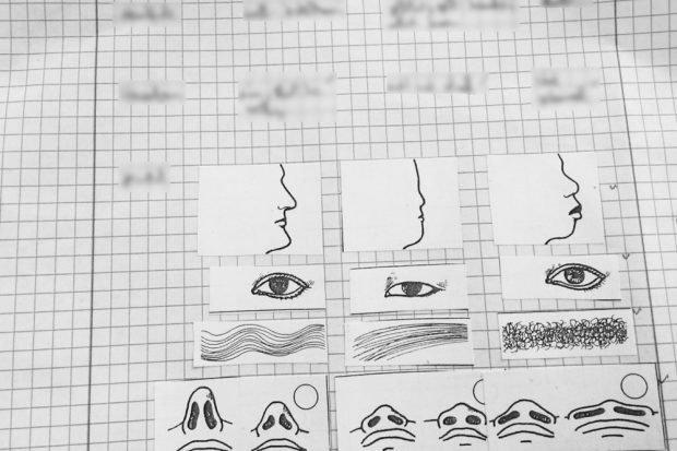 """Darstellung der Zuordnung von typischen Hautfarben, Haar-, Nasen- und Gesichtsformen zu """"Rassenkreisen"""" einer Schülerin bzw. eines Schülers. Foto: Grüne Fraktion Sachsen"""