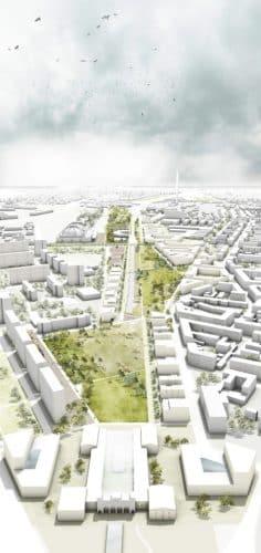 Pläne für das Gesamtareal Bayerischer Bahnhof. Entwurf: Wessendorf/Loidl, Berlin