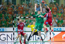Szene vom Hinspiel gegen Lemgo, Foto: Karsten Mann