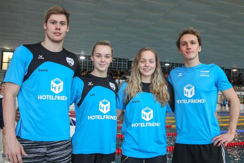 SSG-Trainingsgruppe (v.l.): David Thomasberger, Lia Neubert, Marie Pietruschka, Thomas Rohmberger. Foto: Jan Kaefer