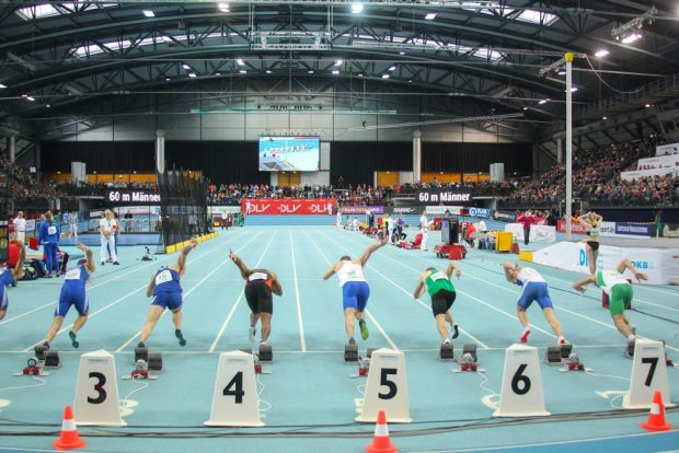 Die Arena Leipzig im charakteristischen Leichtathletik-Blau. Foto: Jan Kaefer