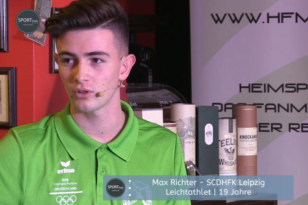 Max Richter (SC DHfK) zu Gast in der Sportpunkt-Sendung. Screenshot: Sportpunkt