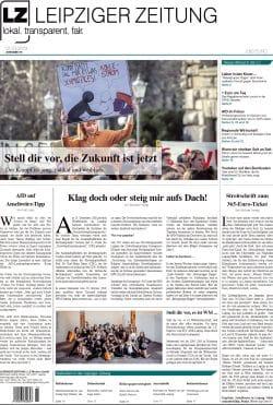 Das Titelblatt der LEIPZIGER ZEITUNG, Ausgabe 64. Foto: Screen PDF