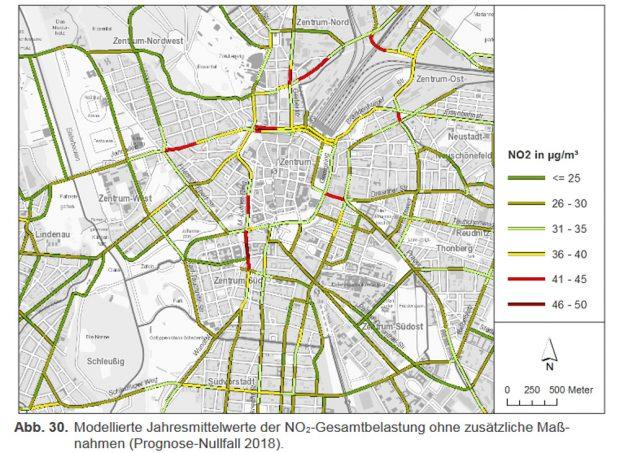 Modellrechnung für die NO2-Belastungen einzelner Straßenabschnitte 2018. Grafik: Stadt Leipzig, Luftreinhalteplan 2018