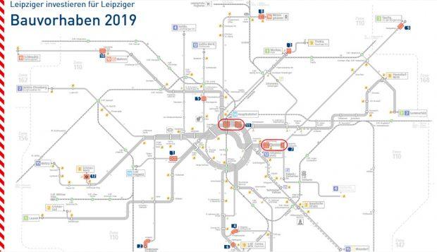 Die LVB-Bauvorhaben 2019. Grafik: LVB