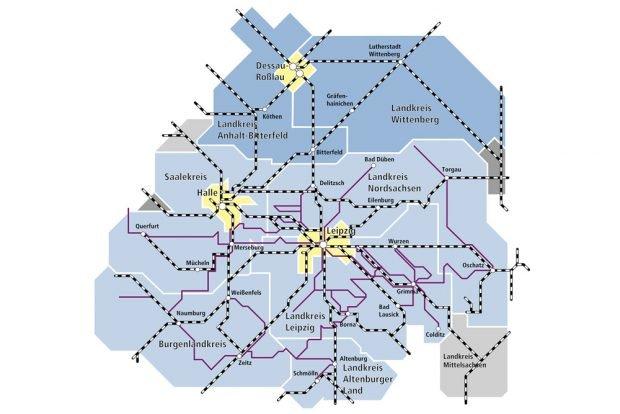 Das neue Verbundgebiet des MDV ab Dezember. Karte: MDV
