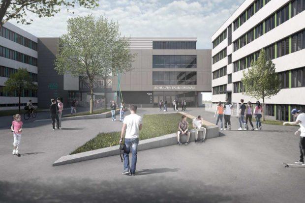 Entwurf für das Schulzentrum Grünau. Visualisierung: agn Niederberghaus & Partner GmbH