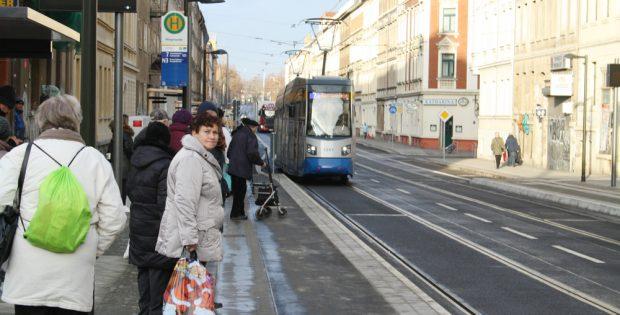 Die LVB hatten ihren Teil am Projekt Georg-Schwarz-Straße im Dezember 2018 fertig. Foto: Ralf Julke