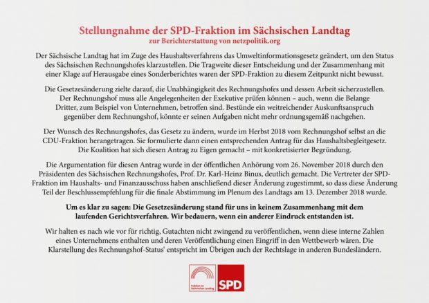 Kein ZUsammenhang, alles auf Wunsch des Rechnungshofes. Das Statement der SPD-Fraktion im sächsischen Landtag vom 20. Februar 2019. Foto: SPD Fraktion