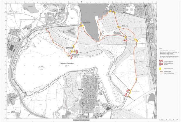 Die zu beachtenden Umleitungen im Umfeld der Aufschüttungen zwischen Cospudener und Zwenkauer See. Karte: LMBV