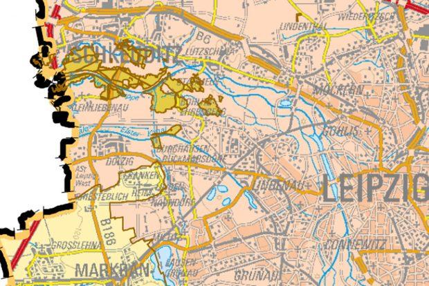 er Landeswald in der Leipziger Nordwestaue. Karte: Freistaat Sachsen, Staatsbetrieb Sachsenforst