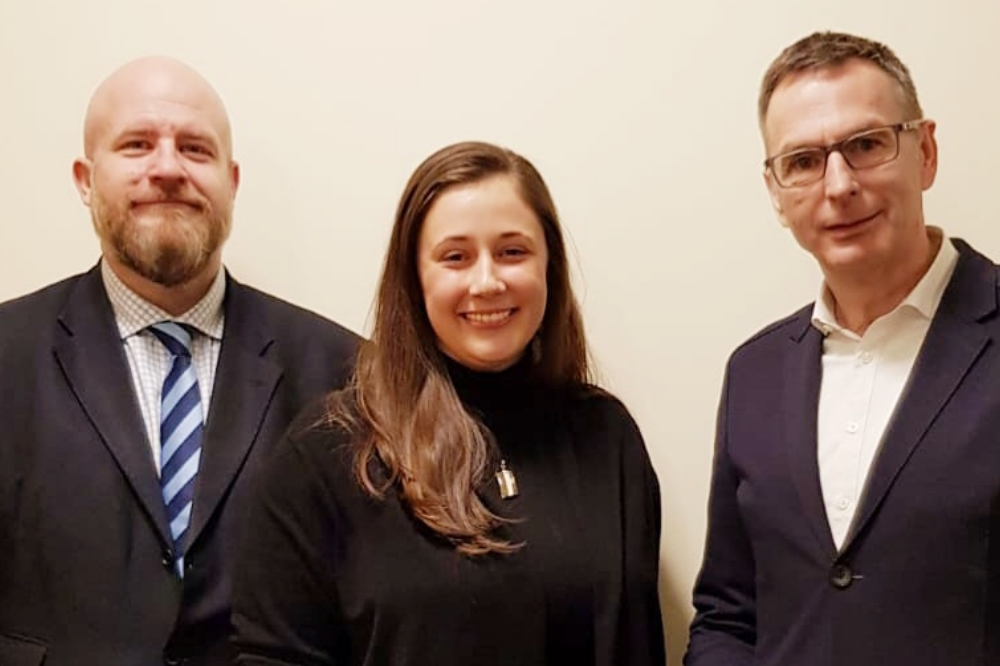 Andreas Nowak (MdL), Jessica Heller (Stadträtin), Dietmar Link (Vorsitzender). Quelle: CDU-Leipzig SüdWest