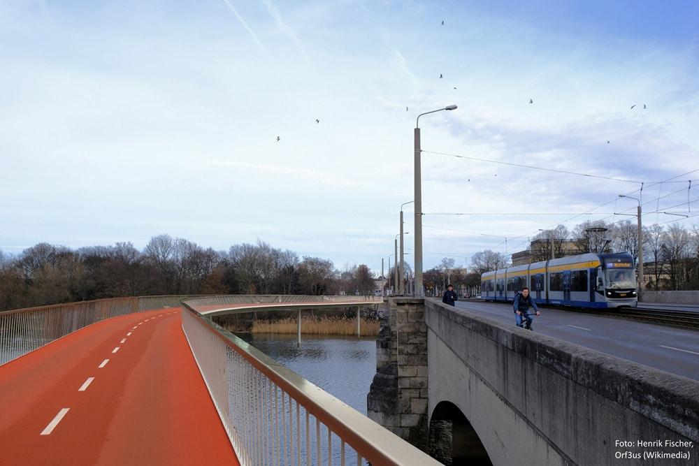 SPD-Vorschlag aus dem Frühjahr 2019: eine Radbrücke parallel zur Jahnallee. Foto: Henrik Fischer, Orf3us Wikimedia