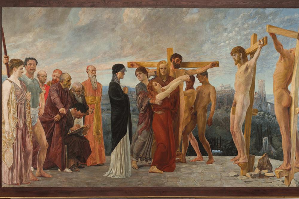 Max Klinger, Die Kreuzigung Christi, 1890, 251 x 465 cm, Öl auf Leinwand. Foto: Michael Ehritt / Museum der bildenden Künste