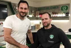 Neuverpflichtung Philipp Müller und Cheftrainer André Haber. Quelle: SC DHfK