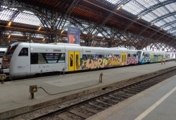 Triebzug MRB bei der Einfahrt in den Hauptbahnhof Leipzig. Quelle: Bundespolizeiinspektion Leipzig
