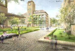 """Entwurf für das neue Wohngebiet """"Zur Alten Brauerei"""". Visualisierung: Arbeitsgemeinschaft Schulz und Schulz Architekten / Bayer Uhrig Architekten / Franz Reschke Landschaftsarchitektur"""