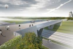 Die neue Brücke zum Wilhelm-Külz-Park. Visualisierung: DNR Daab Nordheim Reutler Architekten