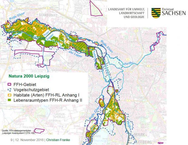 Das FFH-Gebiet Leipziger Auensystem. Grafik: Freistaat Sachsen, LfULG, Vortrag Christian Franke
