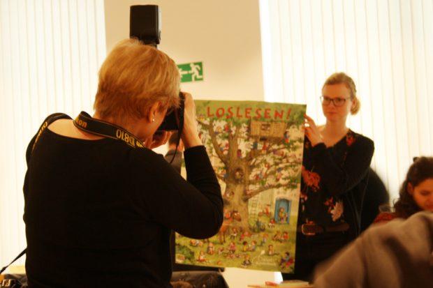 Plakat zum Geburtstag des Klett Kinderbuch Verlags: Loslesen! Foto: Ralf Julke