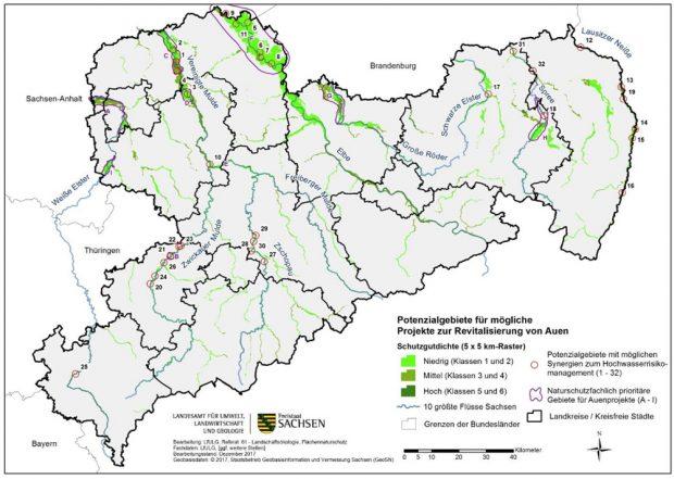 Das Potenzial der Auenwiederherstellung in Sachsen. Prioritäres Projekt A ist das Leipziger Auensystem. Grafik: Freistaat Sachsen, LfULG, Vortrag Dr. Maik Denner