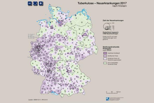 Verteilung der Tuberkuloseneuerkrankungen in Deutschland. Grafik: IfL, Nationalatlas