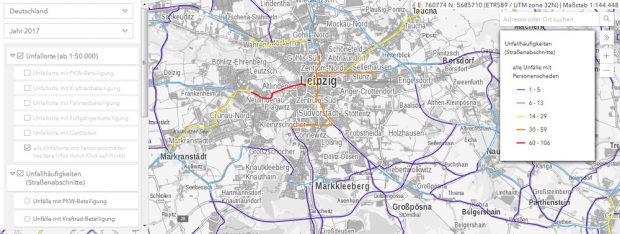 Unfallkarte des Statisischen Bundesamtes über Fahrradunfälle in der Jahnallee 2017. Screenshot:L-IZ