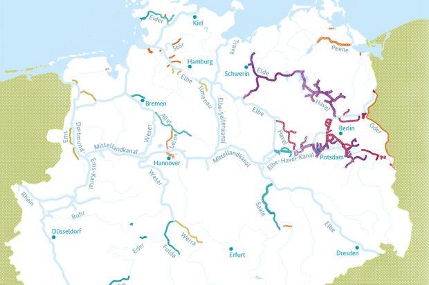 Die Bedeutung der Nebenwasserstraßenfür Freizeit und Tourismus. Karte: Bundesverkehrsministerium