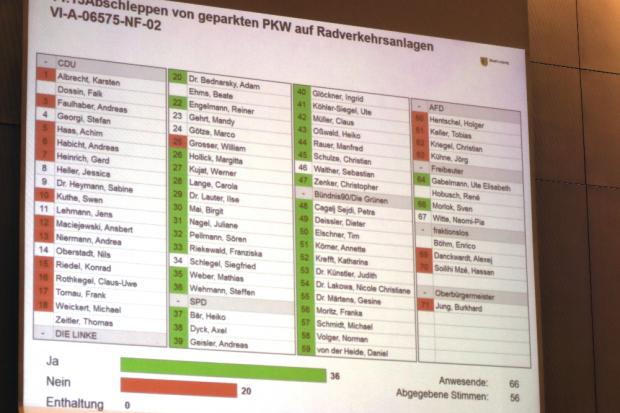 Abstimmung zum vermehrten Abschleppen auf Radwegen. Foto: Michael Freitag