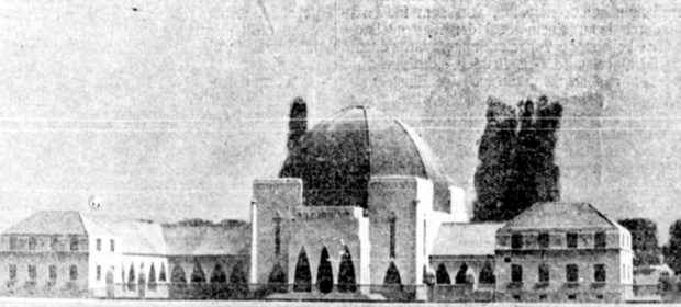 Wilhelm Hallers Modell des Gesamtkomplexes an der Delitzscher Straße. Bild: Gemeindeblatt der Israelitischen Religionsgemeinde Leipzig, 1925, Fotograf unbek.