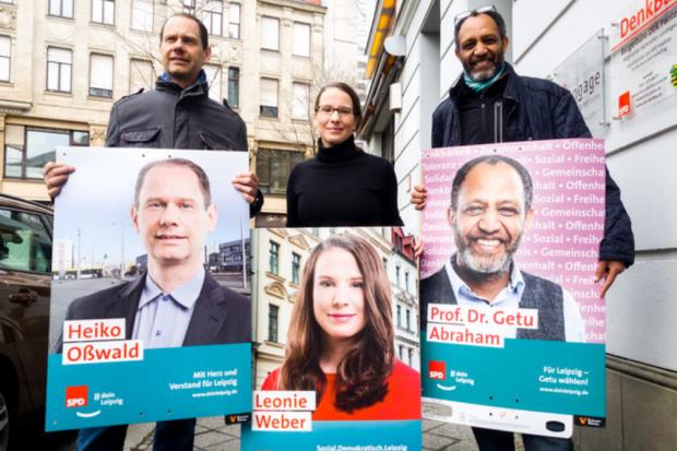 Heiko Oßwald, Leonie Weber, Prof. Dr. Getu Abraham. Quelle: SPD Ortsverein Leipzig-Mitte