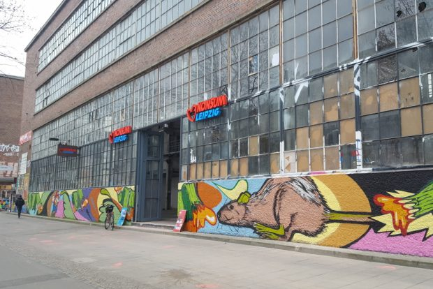 Der beschädigte Konsum im Westwerk. Foto: Marko Hofmann