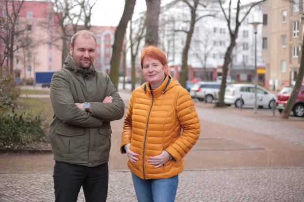 Quartiersteam Leipzig: Florian Thamm und Karin Gründel. Quelle: Verbraucherzentrale Sachsen