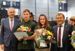 V.l.n.r. Staatsminister Thomas Schmidt, Martin Simmig, Elisa Eichler, Wolfgang Vogel (Landesbauernpräsident) Quelle: SMUL