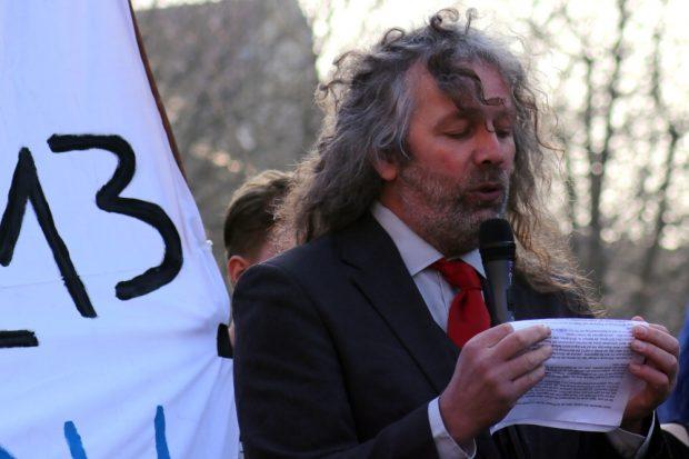 Thomas Kuno Kumbernuß auf der Demo am 23. März 2019. Foto: L-IZ.de